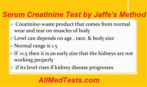 creatinine serum serum creatinine test by jaffe s method all tests