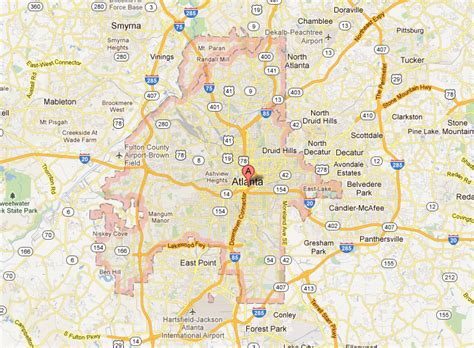 atlanta georgia surrounding area map about
