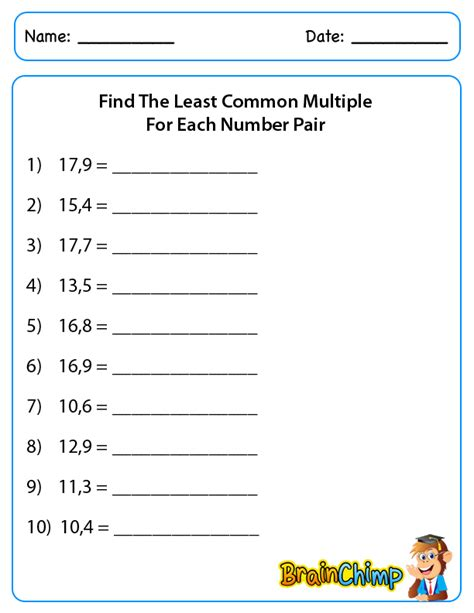 printable math worksheets least common multiple least common factor worksheets lcm gcf worksheets 6th