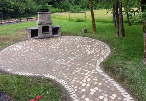 patio firepit paver patio ajb landscaping fence