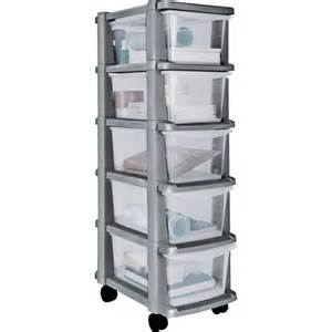 buy home 5 drawer plastic slim tower storage unit silver