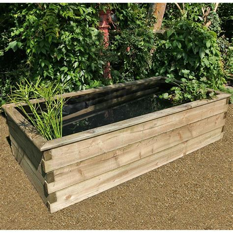 Garden Liner by Zest 4 Leisure Large Rectangular Raised Wooden Pond With