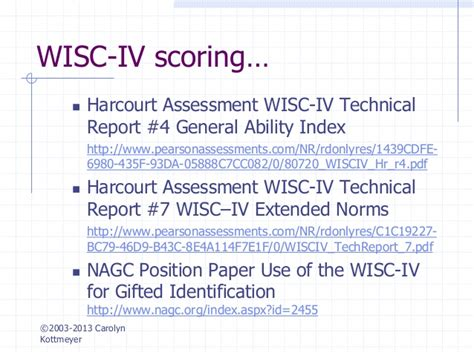 wisc iv report sle hoagies gifted testing and assessment of the gifted
