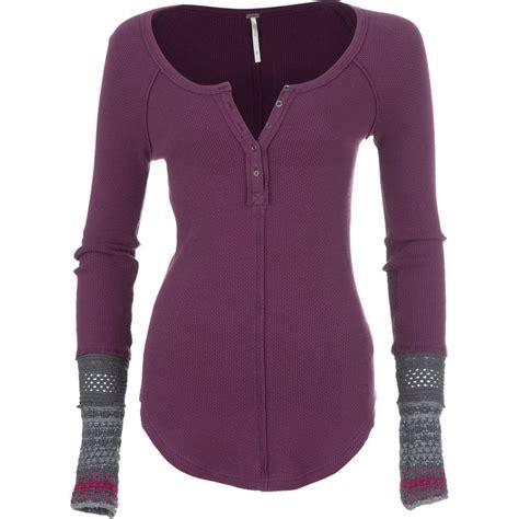 long sleeve thermal shirts for women free people ski lodge newbie thermal cuff shirt long