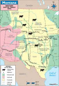 cattle trails map montana historical map western cattle trails 1870s by