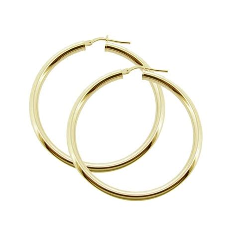 Sleeper Earrings by 9ct Gold Plated Small To Large Polished 3mm Hoop Sleeper