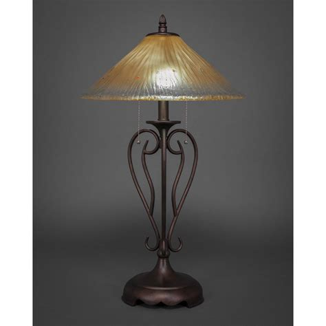 amber glass l shades olde iron bronze two light table l with amber crystal