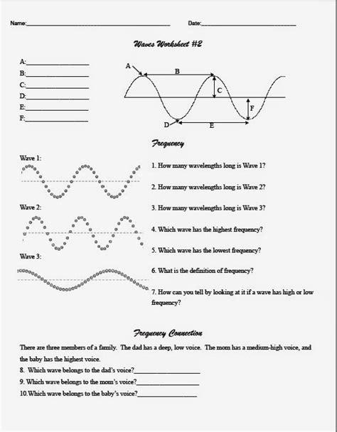 waves sound and light worksheet answer key teaching the kid middle wave worksheet
