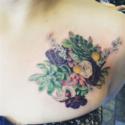 succulent tattoo session 2 succulents bouquet with color i the