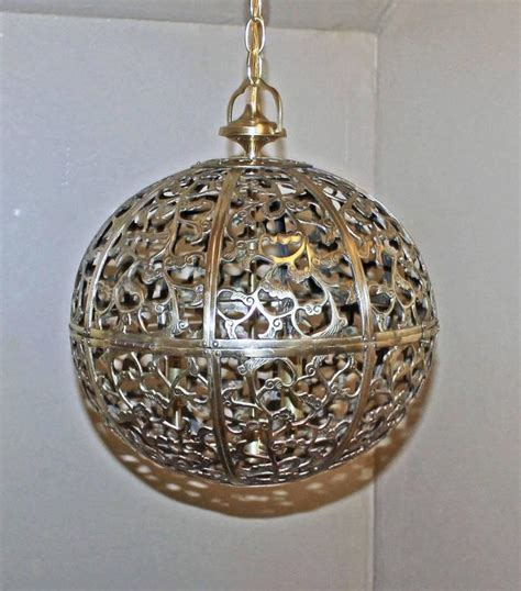 Large Pierced Brass Asian Pendant Light At 1stdibs Asian Pendant Light