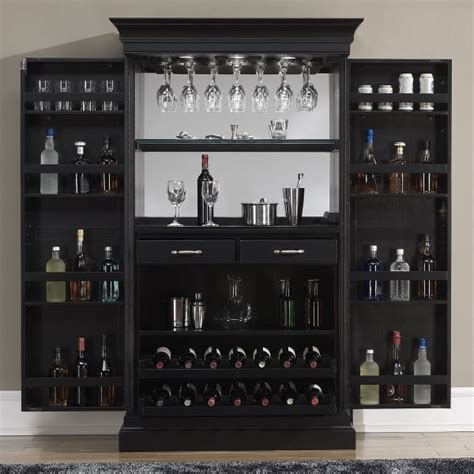 black wine bar cabinet