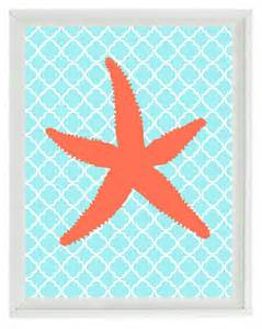 coral colored wall decor starfish nautical sea creature print by