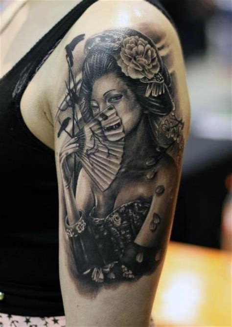 arm japanese geisha tattoo by da silva tattoo