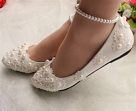 Flat Wedding Pumps by Exclusively Stunning Ivory Beaded Lace Style Flat