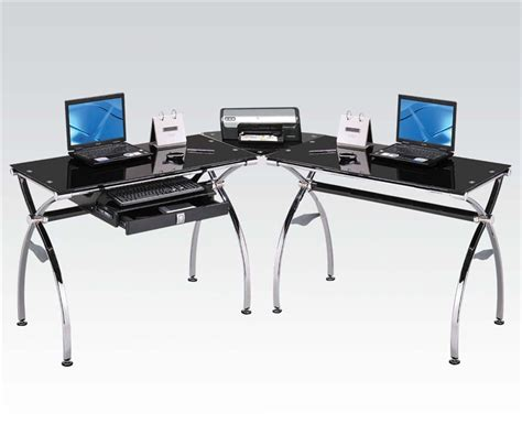 Glass And Chrome Computer Desk Kayce Chrome Metal And Black Tempered Glass Computer Desk