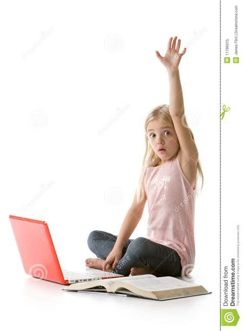 raising royalty books with laptop raising stock image