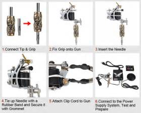how to set up tattoo gun 2 machines kit w power supply 40 inks