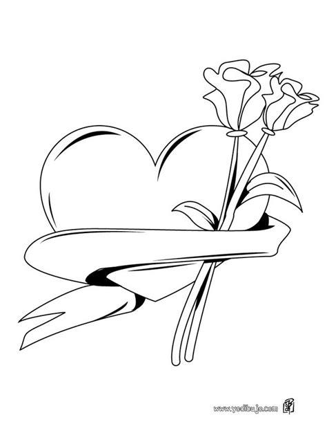 imagenes de rosas y corazones para colorear dibujos para colorear ramo de corazon y rosas es