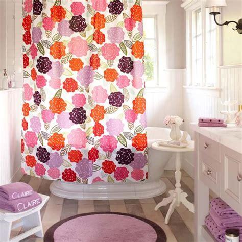 teen girl shower curtain chloe floral organic shower curtain pbteen