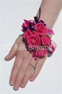 Pink Rose Corsage Modern Artificial Vibrant Fuchsia Pink Rose Wedding Wrist Corsage W Crystals Ebay