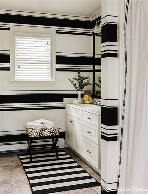 black and white striped wall black and white striped walls contemporary bathroom new england home