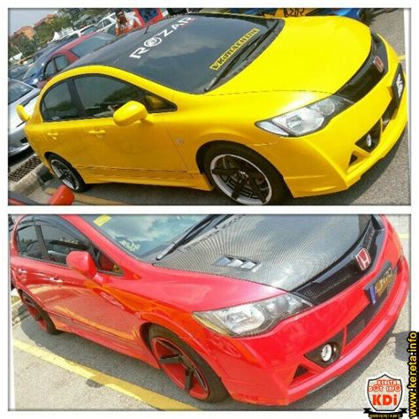Bodykit Honda Civic Fd Type R yellow vs modified honda civic with kit of mugen rr and vossen sport