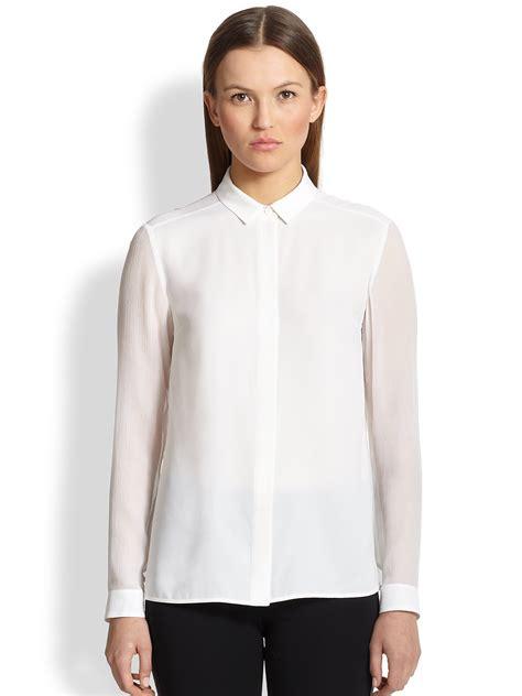 Blouse Batik Ninda White E s sheer white blouse blue denim blouses
