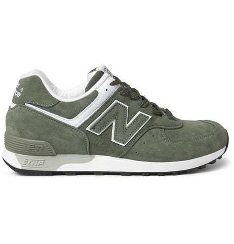 new balance leather sneakers new balance 576 suede and leather sneakers in green for