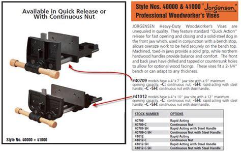 jorgensen rapid acting bench vise wood jorgensen 41012 vise pdf plans
