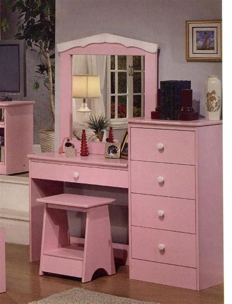 girls vanities for bedroom princess pink finish girls kids vanity dresser with mirror