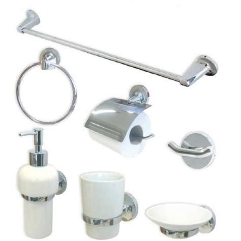 accessori bagno in ceramica kit 7 pezzi accessori cromati con ceramica