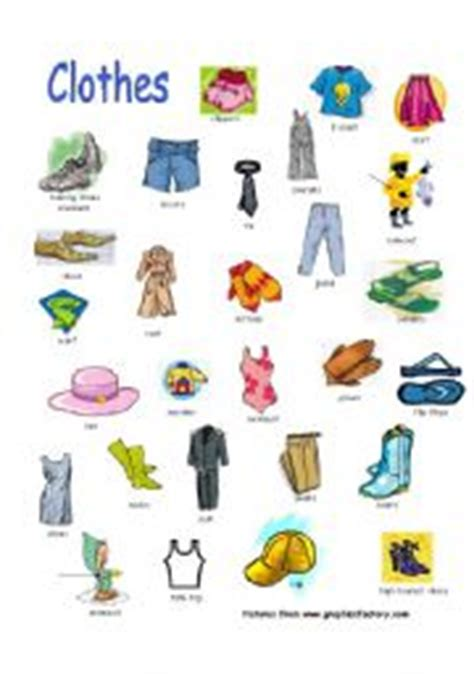clothing themed words english teaching worksheets clothes