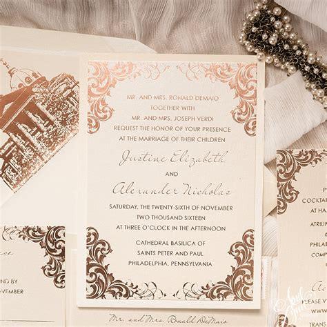 wedding invitations city philadelphia justine alexs luxurious gold foil wedding invitation