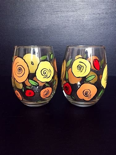 paint nite boston wine glasses paint nite retro roses stemless wine glasses