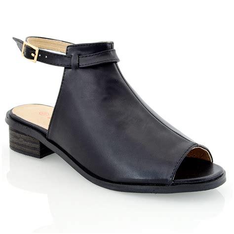 peep toe sandals low heel womens block low heel flat cut out peep toe ankle