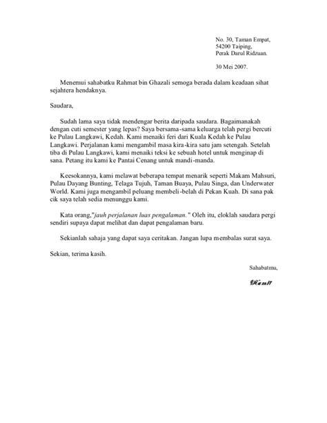 contoh surat kiriman tidak rasmi surat ke pulau langkawi kedah