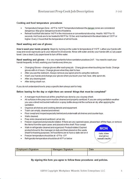 resume sles for cooks resume prep cook sle pantry 28 images prep cook and