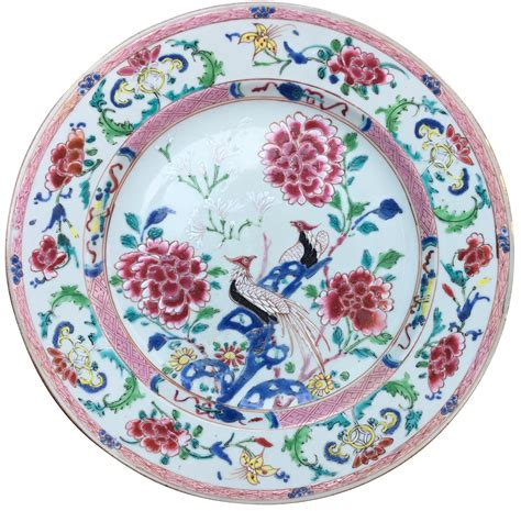 Porcelain Plate a export porcelain pair of plates painted in