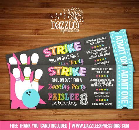 printable bowling tickets printable chalkboard girl bowling ticket invitation kids