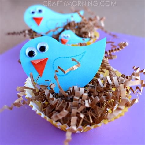 bird craft projects blue bird craft with cupcake liner nests crafty morning