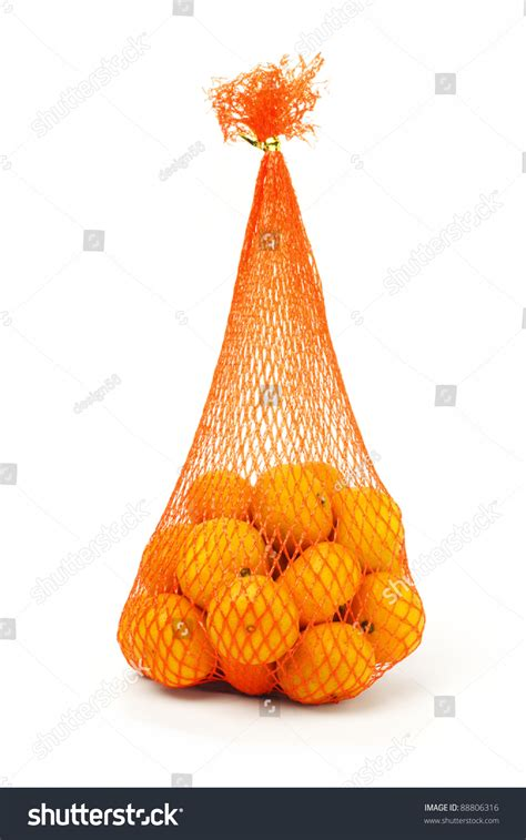 new year oranges bag sack of mandarin oranges for new year stock photo