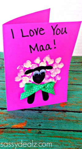 images of love you maa fingerprint sheep mother s day card idea crafty morning