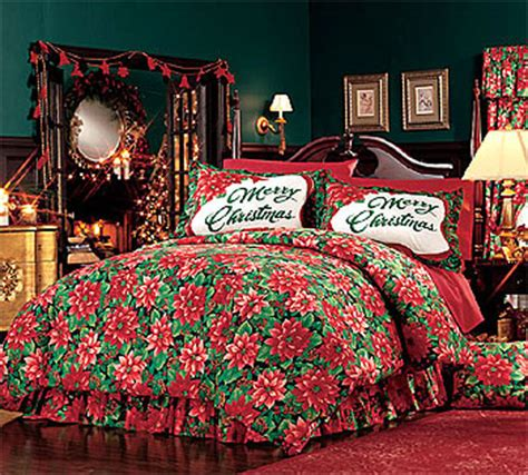 christmas bedding sets holiday design comforters new poinsettia christmas decor bedding comforter set ebay