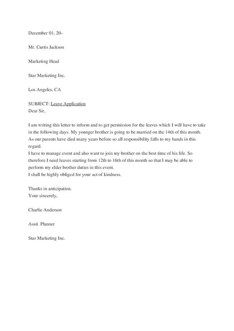 Permission Leave Letter For College Leave Letter Hashdoc