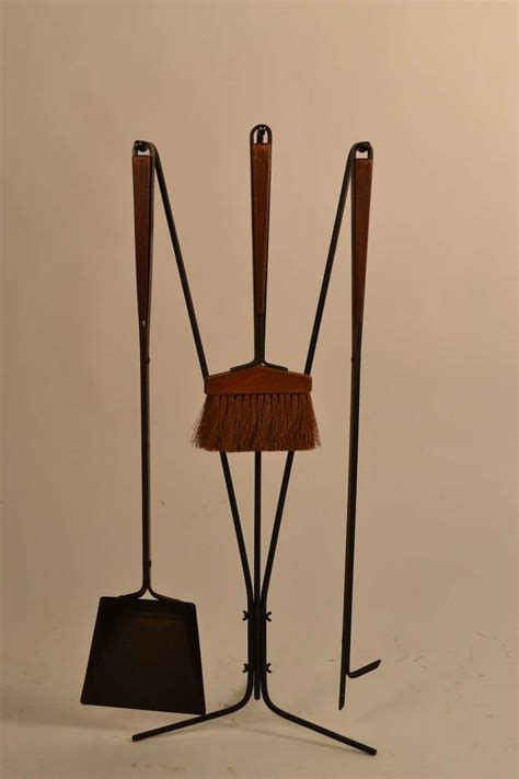 five midcentury fireplace tools with log holder for