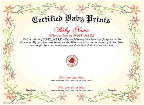 baby certificate template baby prints and print a unique certified baby