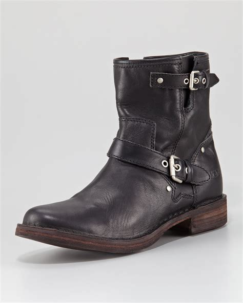 black leather moto boots ugg fabrizia leather motorcycle boot in black lyst