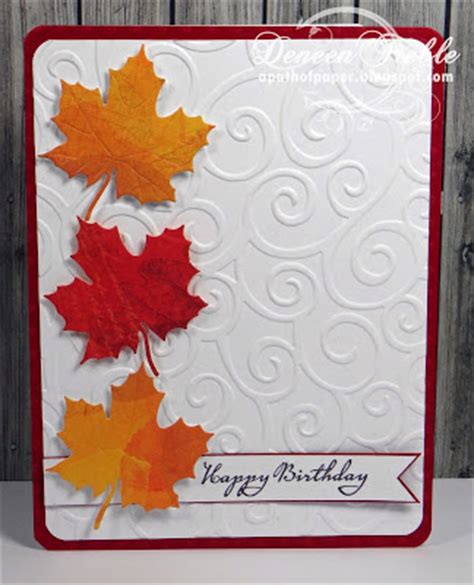 Embossing Folder Maple Leaves 2 a path of paper cuttlebug mania autumn card