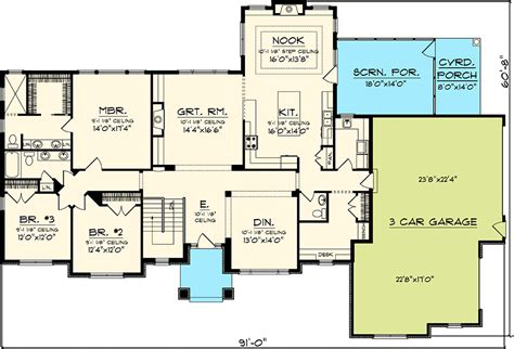 3 bedroom ranch style floor plans rambling 3 bedroom ranch home plan 89828ah 1st floor