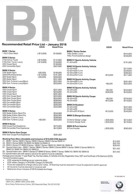 singapore motorshow  bmw price list deals promotions  price list